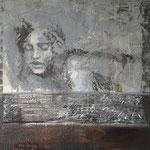 Faces 3   100 x 100   Beton / Pigmente / Acryl auf Leinwand
