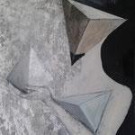 PYRAMIDENTRÄGERIN     100cm x 80cm   Beton I  Acryl auf Leinwand