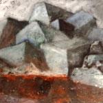 HEISSGEKÜHLT  100cm x 150 cm     Beton I Pigmente I Acryl auf Leinwand