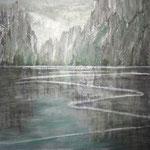 VERSPIEGELT  120 x 100 cm  Beton I Pigmente I Öl I Acryl auf Leinwand