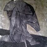 ROTER SCHUH  100cm x 100cm   Beton I Pigmente I Acryl auf Leinwand