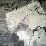 Eva Dvorak In Stein gemeißelt   120cm x 150cm   Beton I Pigmente I Acryl auf Leinwand