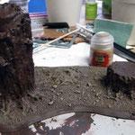 Baumset 03 mit Zandri Dust gebürsted (drybrushing)