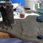 Das Baumset wurde mit Zandri Dust (GW Farbe) gebürstet (drybrushing)