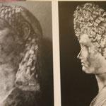 Têtes de dames romaines montrant l'évolution vers des coiffures de plus en plus élaborées.