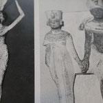 Le roi Akhenaton et la reine Néfertiti. Le shenti est plissé, la reine porte une longue tunique plissée. Les deux portent la collerette ornée de perles et je joyaux.