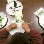 水に浸した台紙の上で海藻を使って絵を描きます