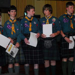 Gold Scout Award achievers; Nicholas Barnett, Cameron Best, Ross Johnstone, Callum Magill, Scott Mackay, Andrew Tait and Jack Waddell