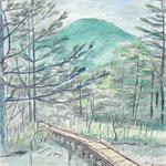 御泉水から蓼科山を臨む(2005/7, pencil+watercolors)