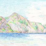 兄島瀬戸(2007/8, colored pencil)(父島釣浜より)
