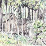 道志森のコテージ(2011/8, pen+colored pencil)