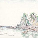 逢ヶ浜(2007/4, pen+colored pencil)(南伊豆)