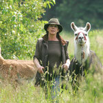 Beim Spaziergang mit Lama Sancho und Fatima