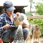 Maria füttert die Hühner