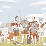 Illustrationen in Lebensgröße, römische Legionäre