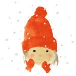 いわさきちひろ 赤い毛糸帽の女の子 『ゆきのひのたんじょうび』(至光社)より  1972年