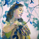 """2007 """"summer dreaming1"""" 15x15 cm Akryl auf Leinwand"""