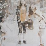 """Unterwegs 1"" 100 x 100 cm Akryl auf Leinwand 2010"