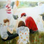 """2008 """"picnic"""" 120 x 165 cm Akryl auf Leinwand"""