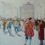 """""""Zeitarbeiter"""" 100 x 100 cm Akryl a. LW 2011"""