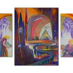 Triptychon Wacht / Öl auf Leinwand