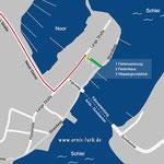 """Der """"Arnis-Luth""""-Stadtplan und Anreiseweg zum Domizil Luth."""