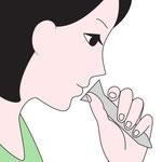 PCR検査(リアルタイム-RT-PCR法) 唾液採取イメージ
