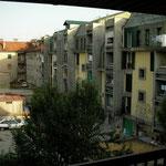 Uitzicht vanaf het balkon van ons appartement in Cetinje.