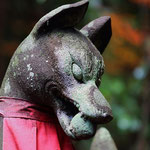 Kitsune statue. Foxes are often depicted as the messengers from Shinto gods.