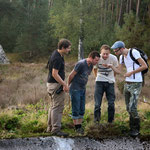 Excitement over the find of Alpine Newt (Ichthyosaura alpestris) on this location