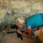 Laura photographing salamander larvae.