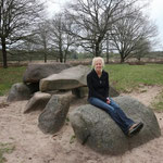 Having a break at a megalithic monument (in Dutch: Hunebed).