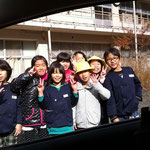 Saying goodbye to the Japanese schoolchildren.