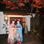 Two geishas in a side alley. © Laura Tiemann