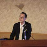 高知県商工労働部工業振興課の松岡氏による「高知県の地元企業による防災関連商品」の講演