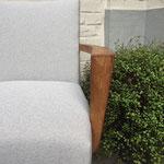 Réfection bois et tissu fauteuil Bridge : tissu Lana coloris Chanvre de Lelièvre Paris