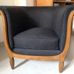 Fauteuil Davis années 30 réfection complète bois compris - tissu Houlès