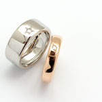 bague or blanc palladié diamant/ bague or rouge diamant