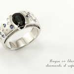 bague or blanc , saphir et diamants