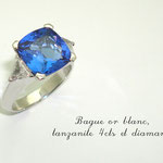 bague or blanc palladié tanzanite et diamants troïdias