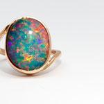 bague or rouge opale Brésil