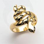 bague serpent or jaune et or noir, diamants dans les yeux