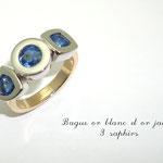 bague bicolore saphirs bleus