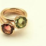 bagues or rouge tourmalines rose et verte