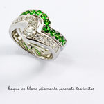 bague or blanc , tsavorites et diamants