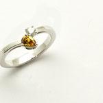 bague de fiançailles or blanc diamant et diamant jaune