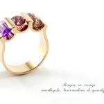 bague or rose, , améthyste, gernat et quartz rutile