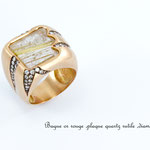 bague or rouge, plaque quartz rutile et diamants