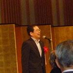 交流パーティーで祝辞を述べる衆議院議員で技術士会の会員でもある齋藤鉄夫氏