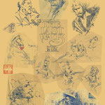 イラスト Illustrator 創作 絵 神谷一郎 オリジナル キャラクター 作品 ラクガキ ボールペン 端切れ  紙切れ 反古紙